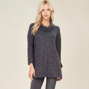 Lianne Cowl Neck Soft Knit Top in Charcoal Grey